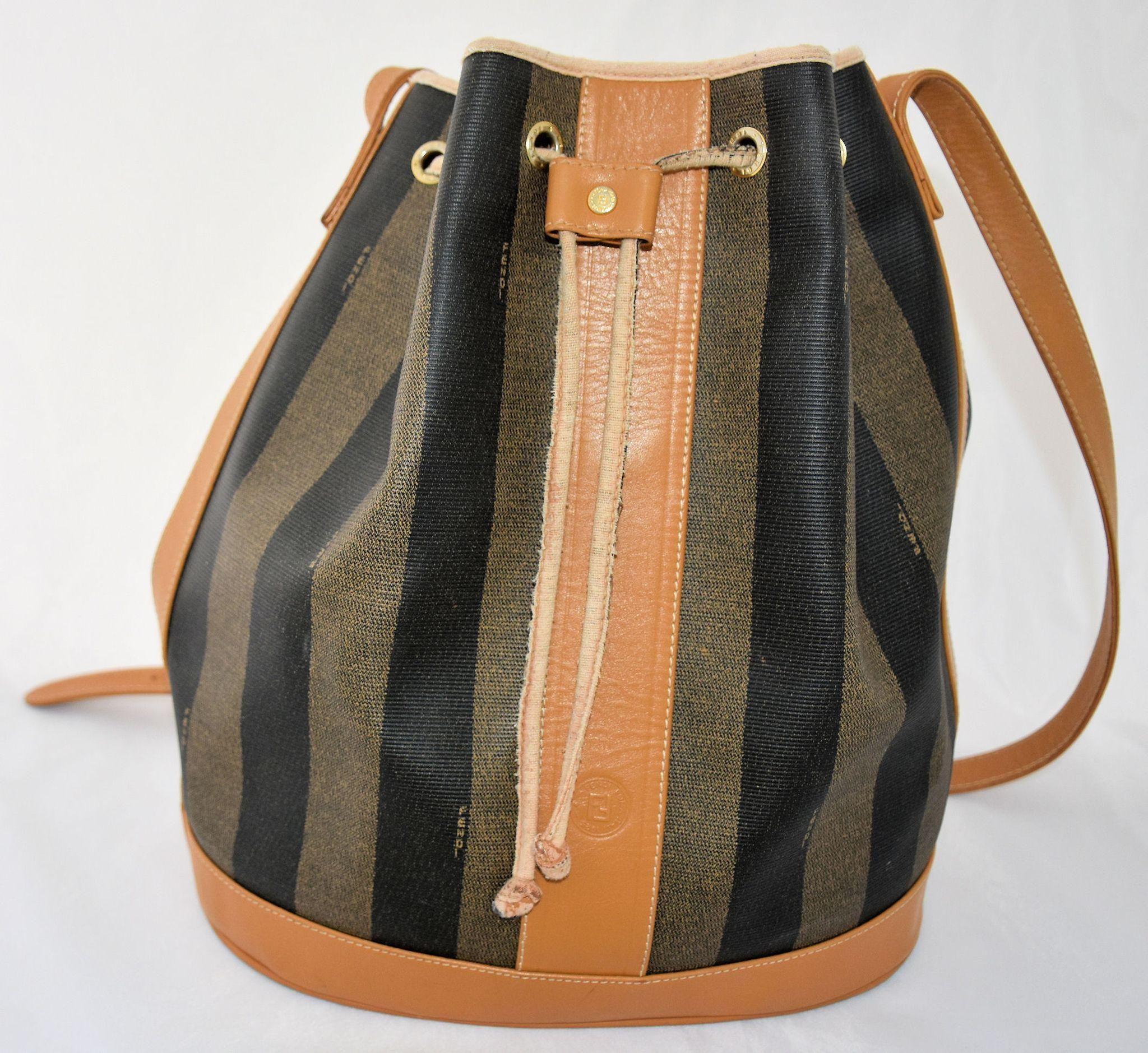 ad8a425f56ce Vintage Fendi Shoulder Bucket Bag Classic Stripe Drawstring Purse Large Tote  Handbag Made in Italy from  antikavenue on  rubylane  Fendi   vintagehandbags