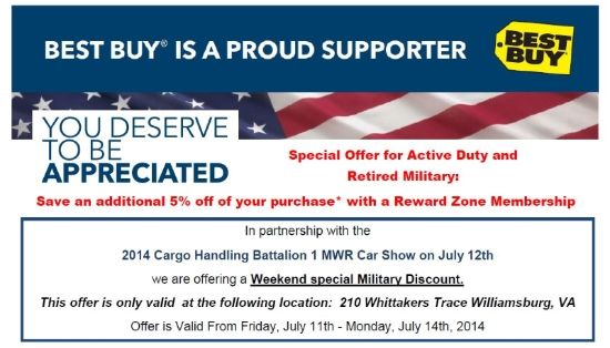 Best Buy Military Discount >> Best Buy Military Discount Weekend July 11 14th Hampton
