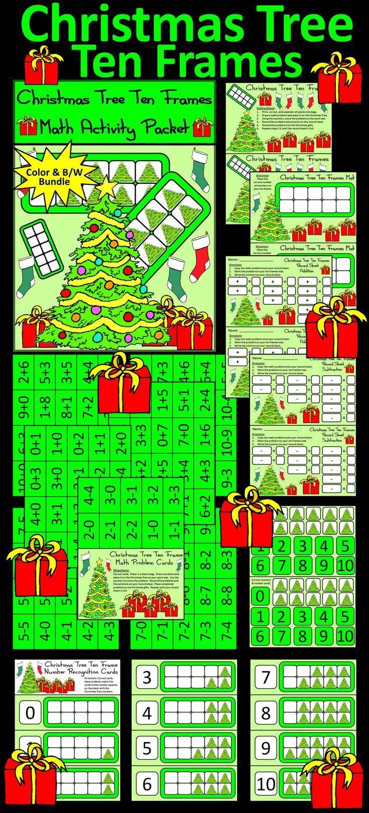 Christmas Math Activities: Christmas Tree Christmas Ten Frames Math ...