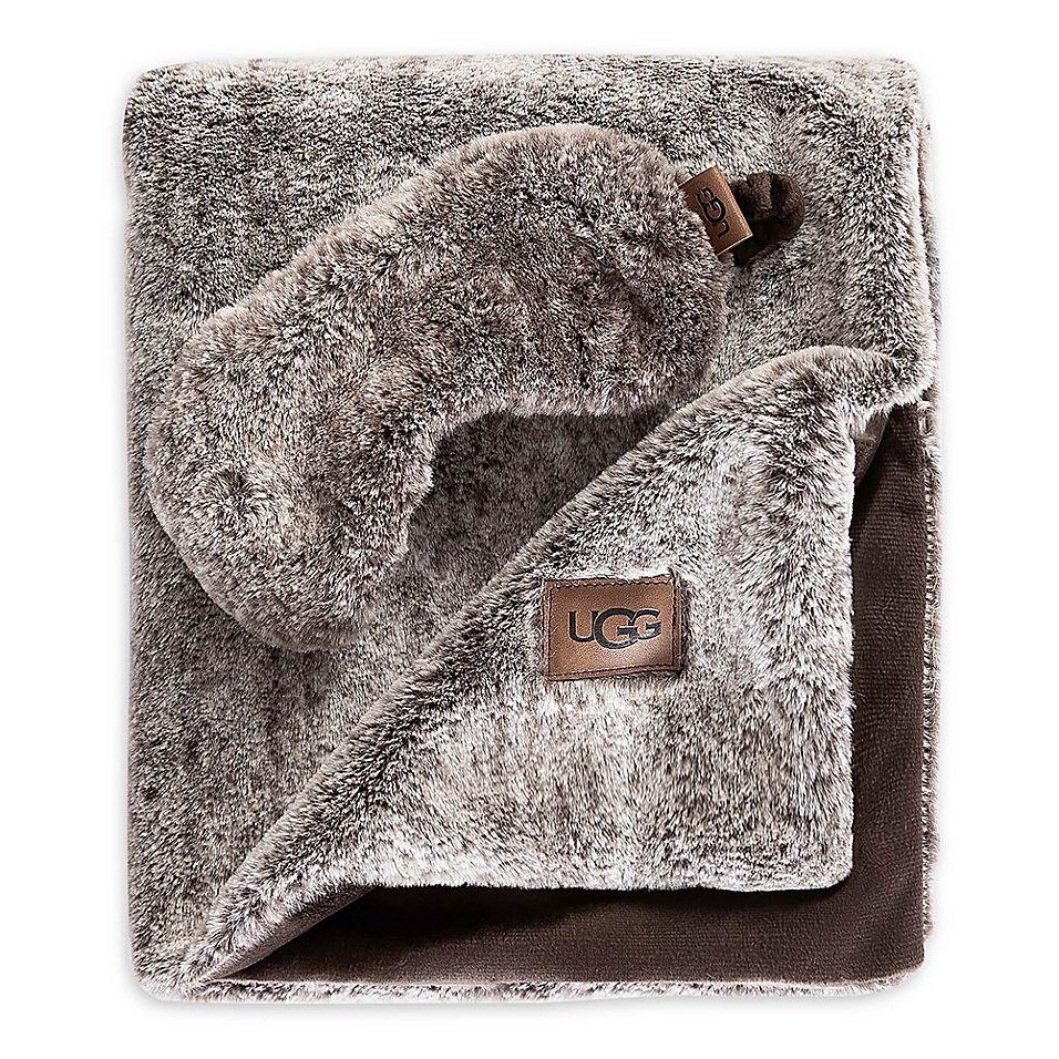 Ugg Pinecreek Faux Fur Travel Set In Chocolate Neck