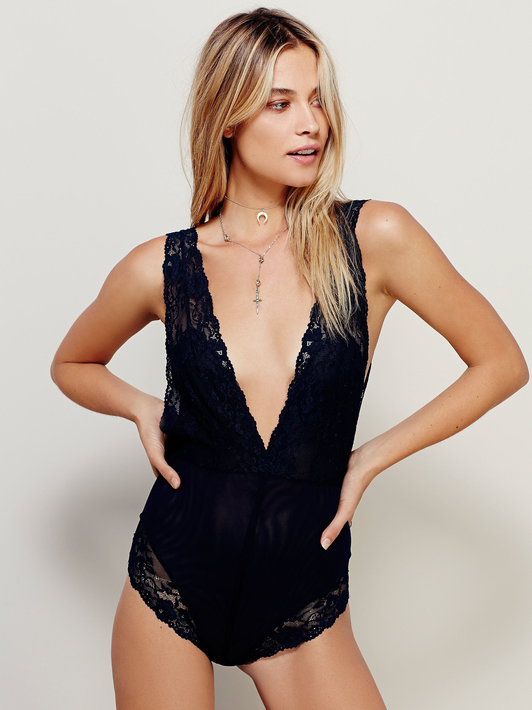 Lace bodysuit with jeans  Midnight Hours Bodysuit  Sheer mesh bodysuit with a sheer lace top
