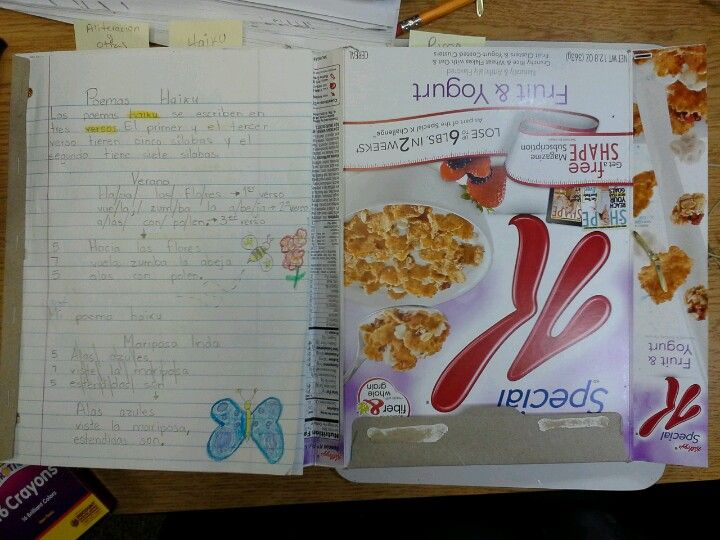Inside of poem portfolio made with a cereal box Writing Pinterest - cereal box book report sample