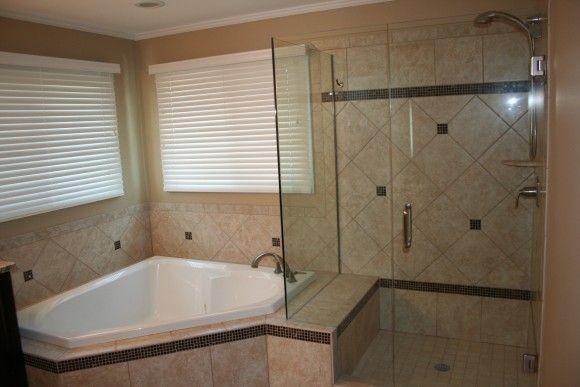 Bathroom Cream Bathroom With Corner Tub And Shower With Frame Less Glass Door Divider Also White Horizontal Tub Remodel Corner Bathtub Shower Tub Shower Combo