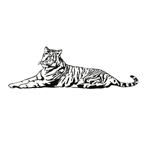 Wall Tattoo Lying Tiger Silhouette Digistamp Tiger