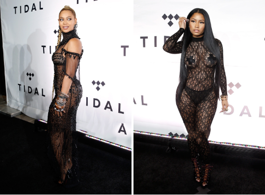 Beyoncé and Nicki Minaj attend TIDAL X: 1015 at Barclays Center on October 15, 2016 in New York City.