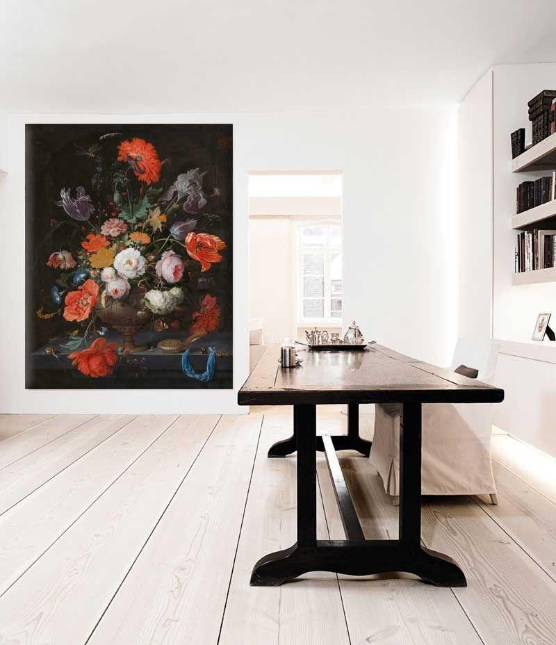 Vlies fotobehang Stilleven met bloemen en een horloge - Rijksmuseum ...