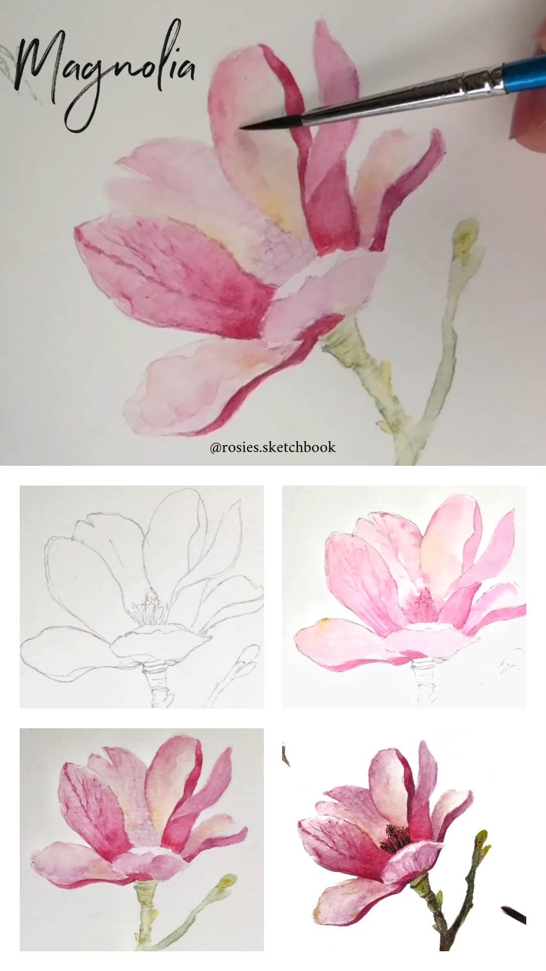 Mini Magnolia Flower Tutorial With Step By Step Process Photos Glower Magnolia In 2020 Watercolor Flowers Tutorial Watercolor Flowers Paintings Watercolor Flowers