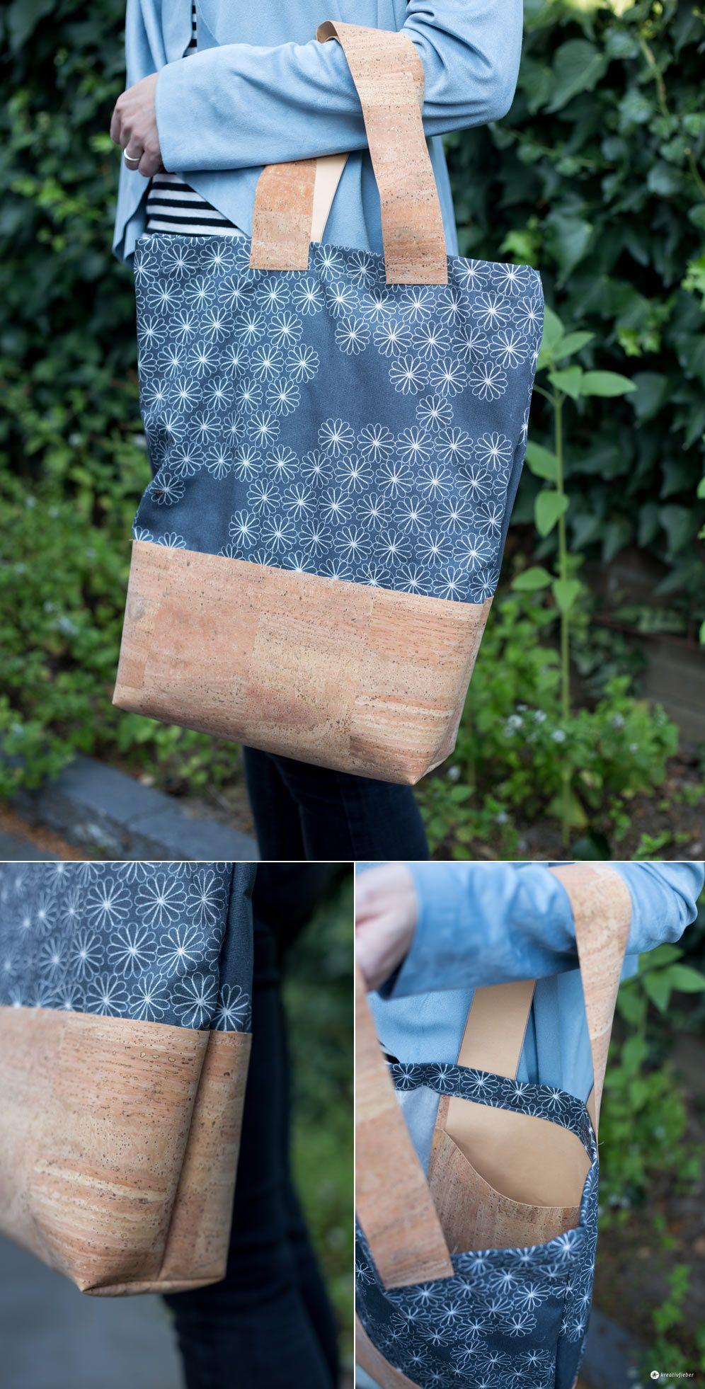 DIY Einkaufstasche mit Kork nähen - ohne Schnittmuster | Pinterest ...