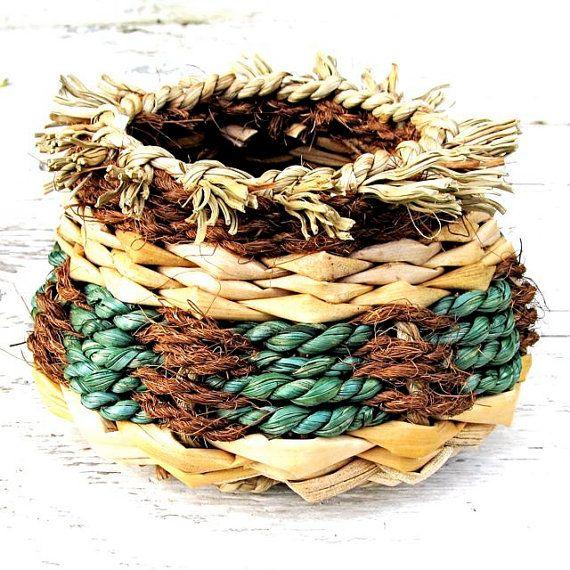 Basket Hand Woven Rustic Hawaiian Green by HanaMauiCreations