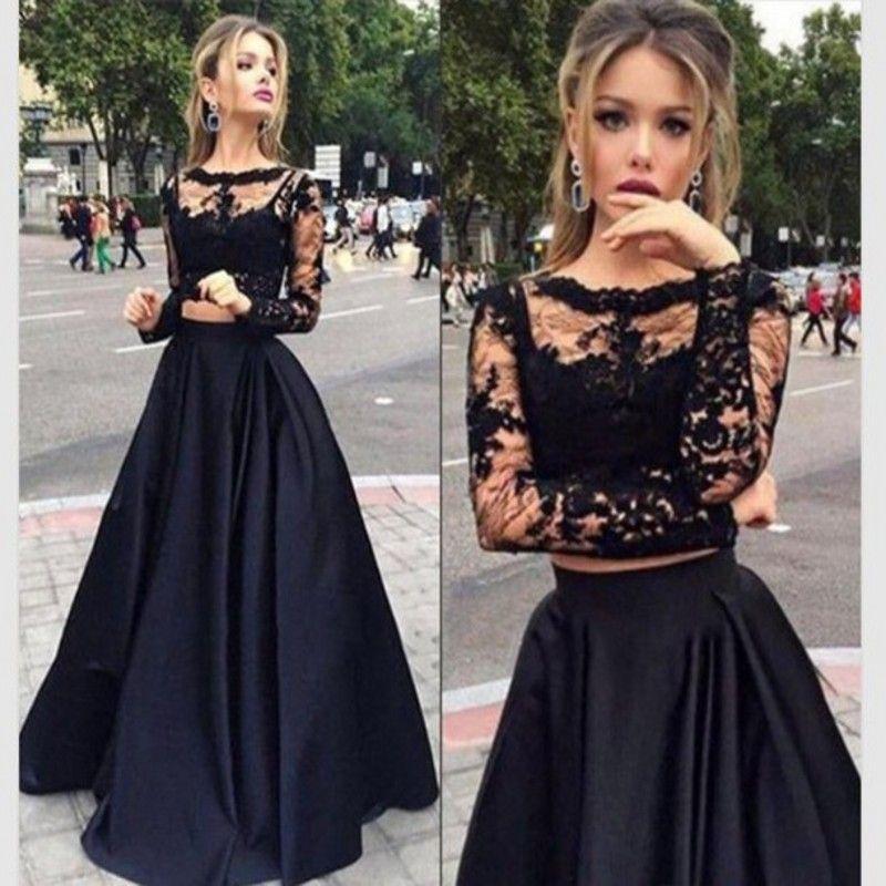 e91c9cb33 Encontrar Más Vestidos de Gala Información acerca de Ver pesar de manga  larga Sexy de dos piezas de baile vestidos moda negro Vestido Longo 2016  recién ...