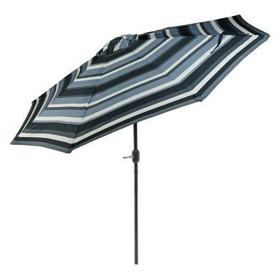 Sunnydaze Decor 9 ft. Push Button Tilt Aluminum Patio Umbrella Catalina Beach Stripe - JLP-248
