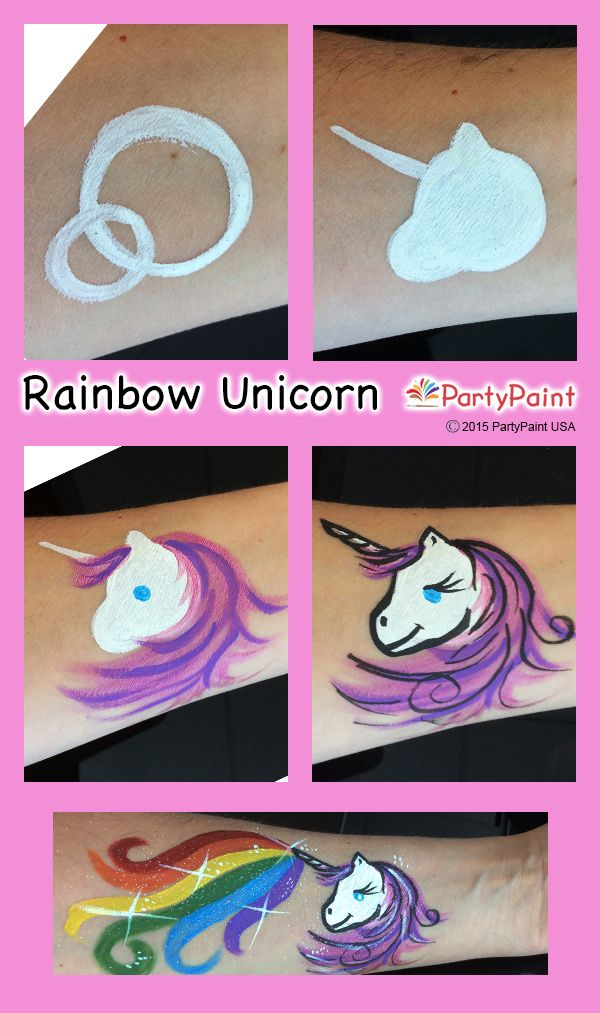 rainbow unicorn step by step guide face paint tutorials. Black Bedroom Furniture Sets. Home Design Ideas