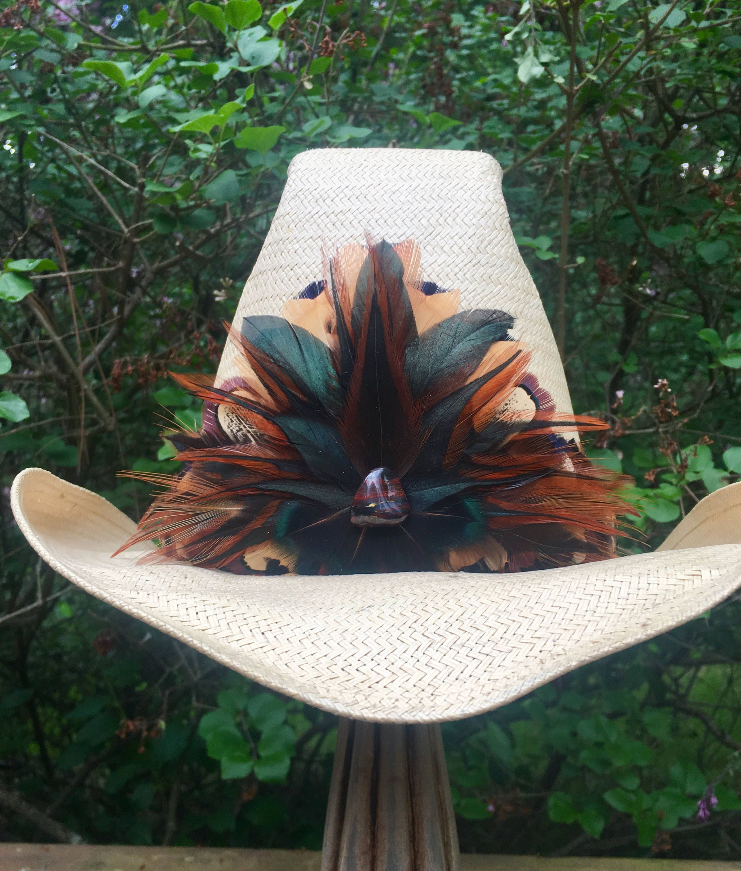 Exceptional Vintage Style Pheasant Rooster Hackle Feather Hat Etsy Feather Band Feather Hat Iridescent Green