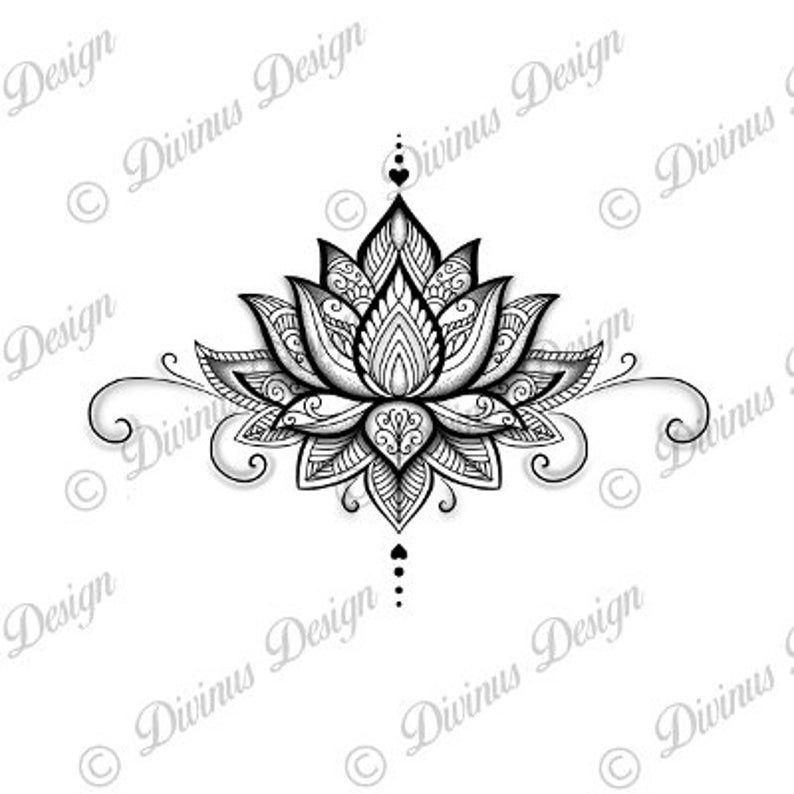 Photo of Lotus Mandala Tattoo Design and Stencil/Template – Instant Digital Download
