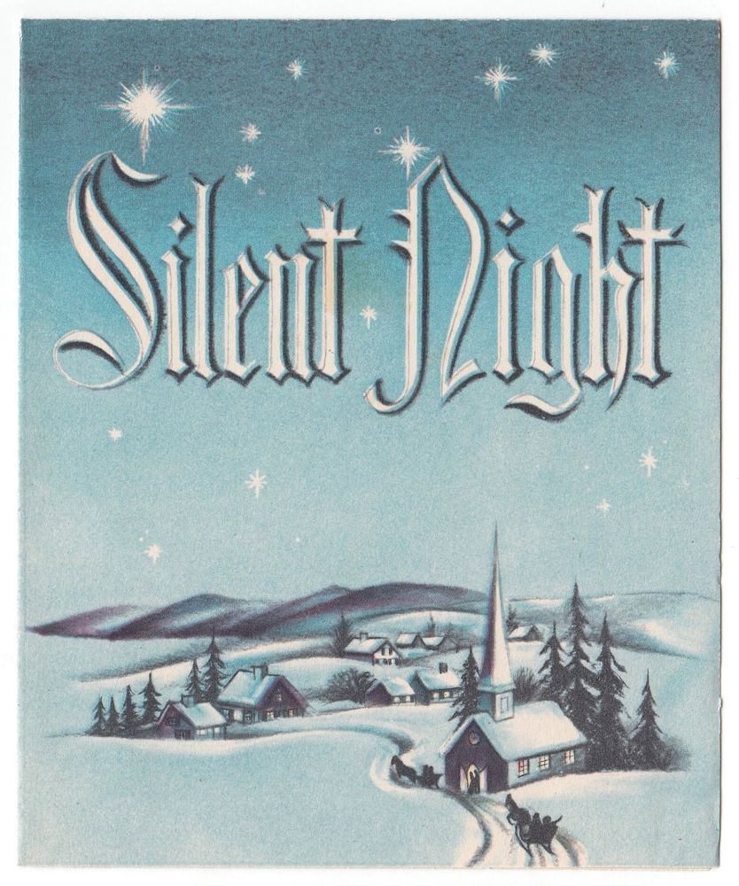 Vintage greeting card christmas church silent night snow winter vintage greeting card christmas church silent night snow winter landscape l11 kristyandbryce Image collections