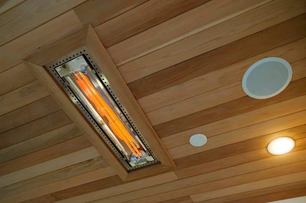 Recessed Infratech Heater In Tongue And Groove Wood Ceiling Outdoor Heaters Outdoor Screen Room Outdoor Heaters Patio