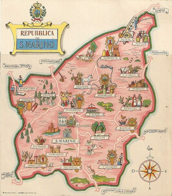 San Marino Map of the country with towns and municipalities 1937