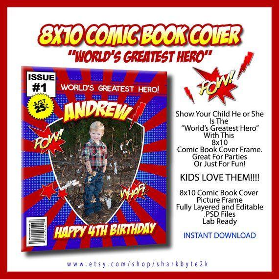 comic book cover template psd birthday invitation x world's greatest hero comic book
