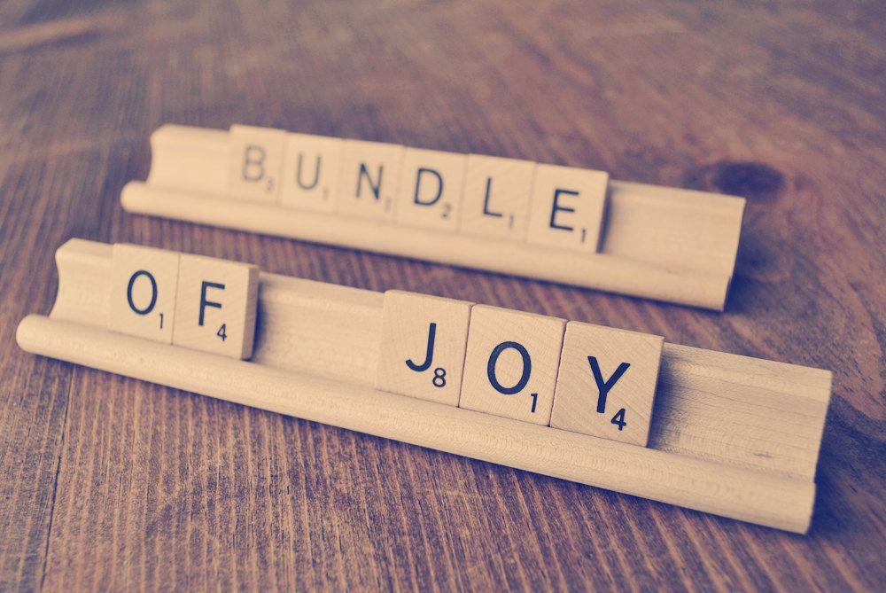 Etsy Shop Perfectionate Bundle of Joy Baby Shower Decoration – Scrabble Baby Announcement