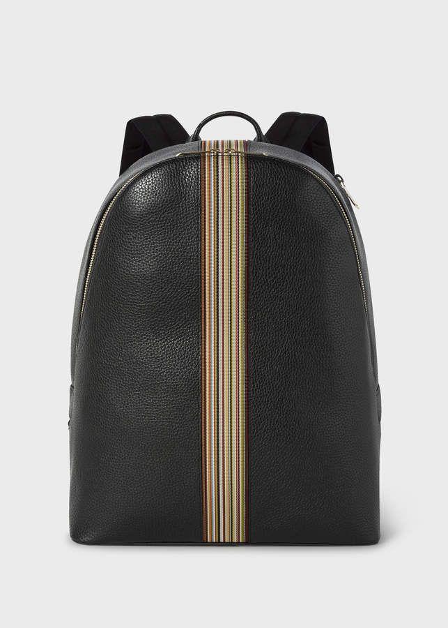 Paul Smith Men s Black Leather Signature Stripe Backpack 03c11be4ec3f1