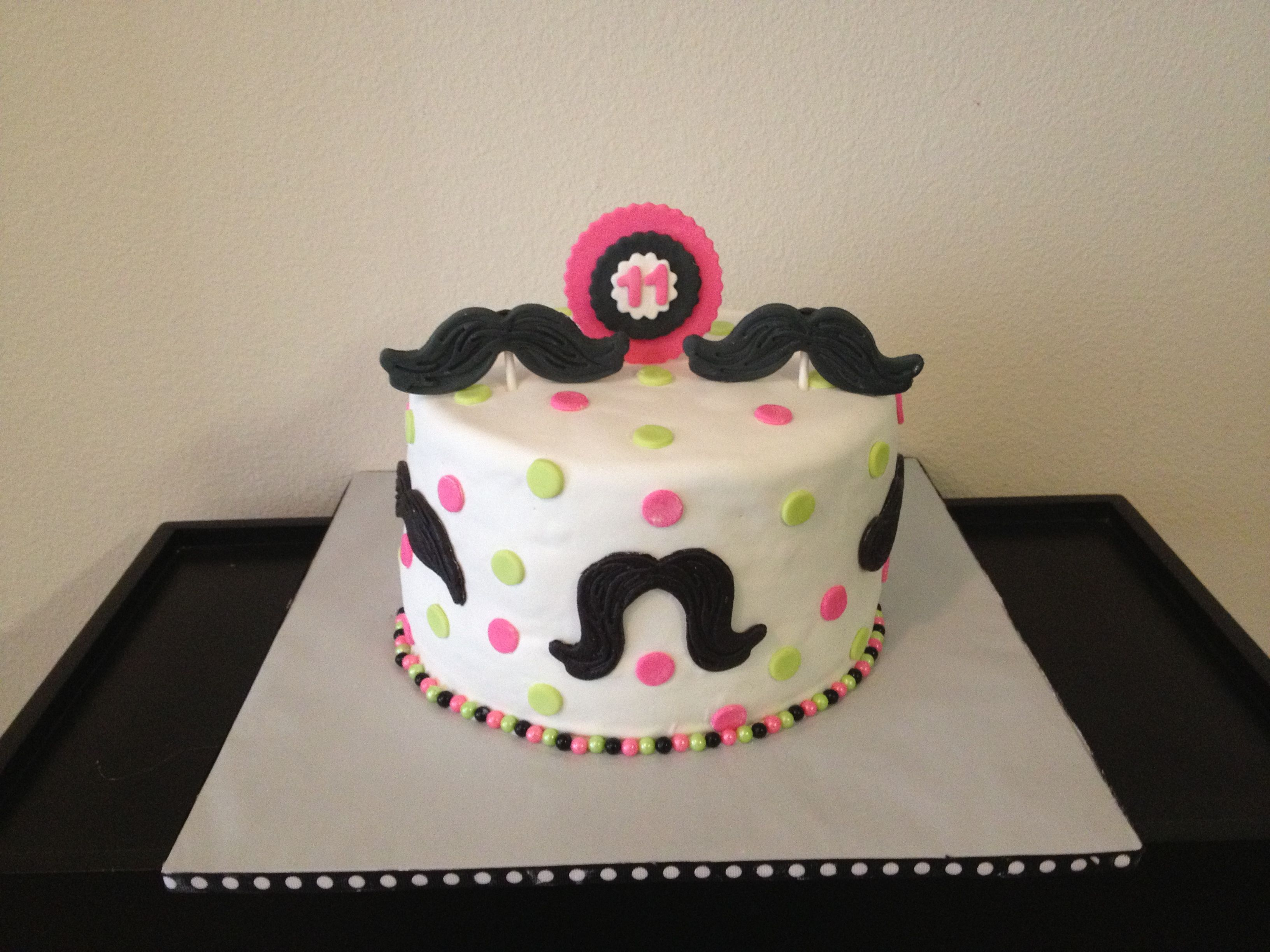 Mustache Birthday Cake For  Year Old Girl Cakes Cupcakes And - 11th birthday cake ideas