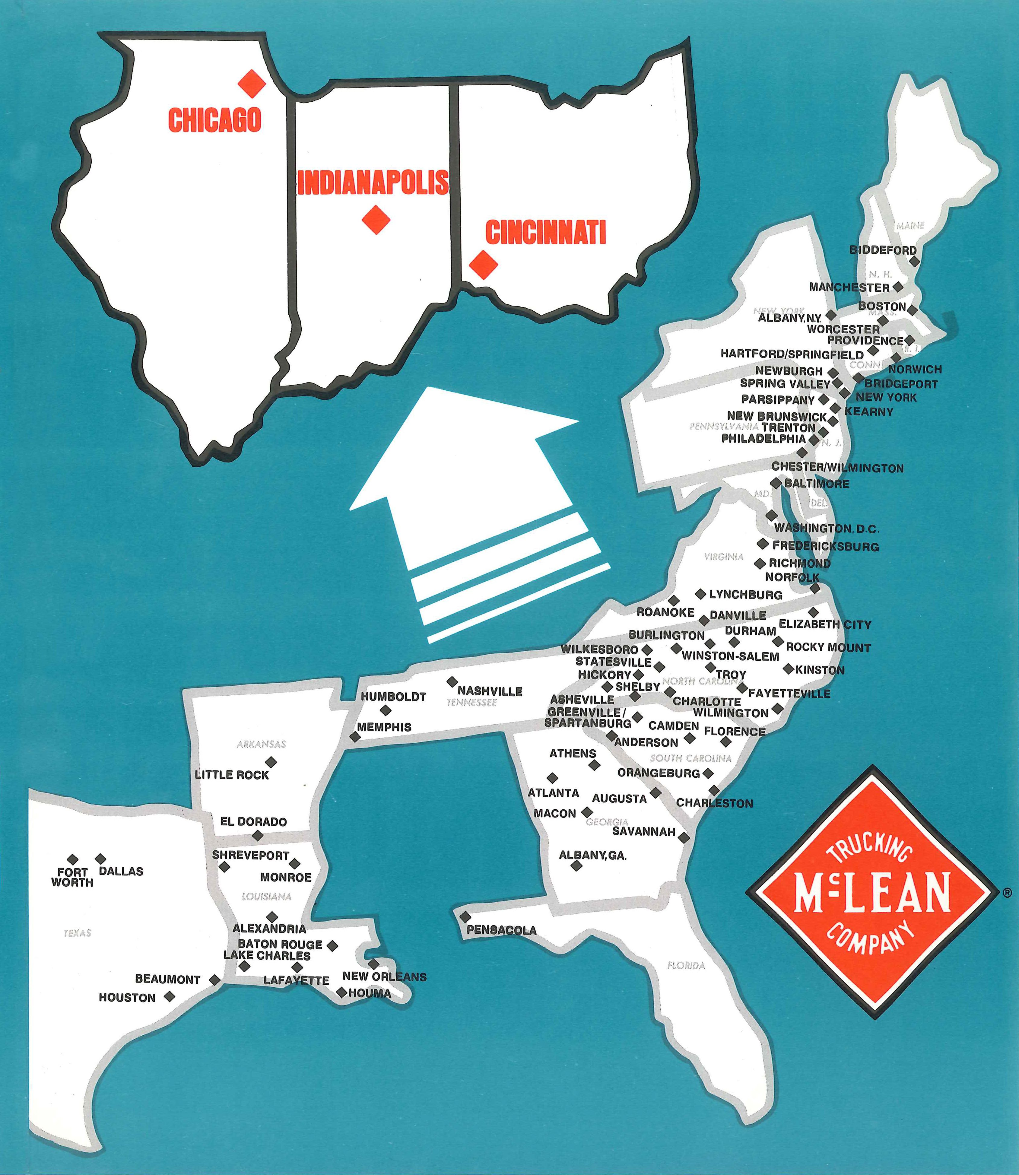 McLean Trucking Co. East Coast shipping route Asheville
