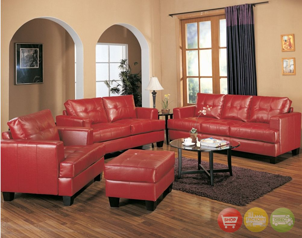 Red Leather Sofa Living Room Ideas Couch Decorating