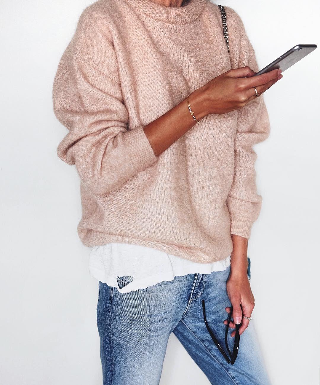 Acne Studios pink melange mohair jumper, blue jeans, white t-shirt ...