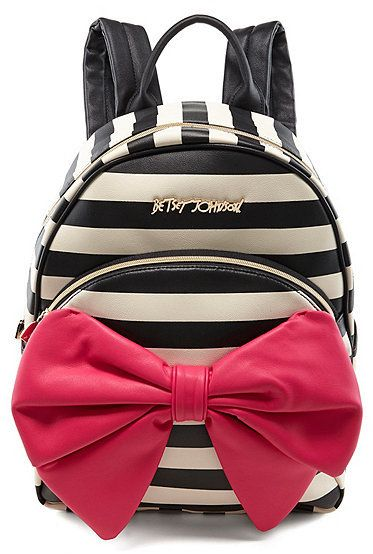 615394da06 Betsey Johnson Bow Tails Striped Backpack  betseyjohnson  pink  bow  black   white  stripes  glam  backpack  school  fashion  diva  chic