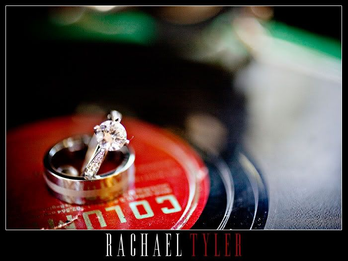 Vinyl Record Wedding Ring Shot  Photo By: Rachael Tyler Photography