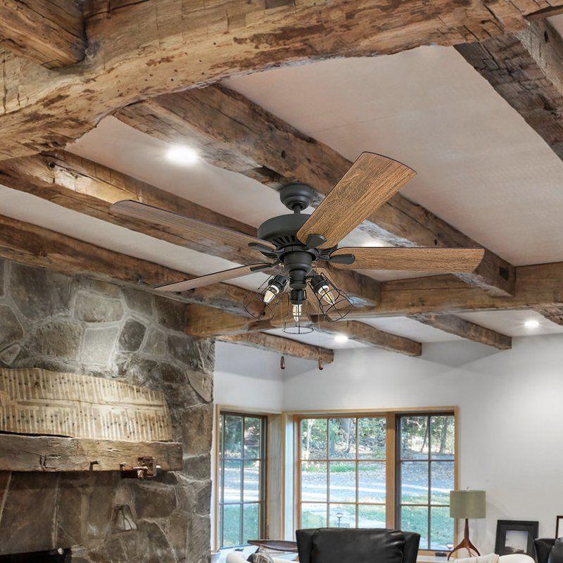 52 pante macassar 5 blade led ceiling fan rustic