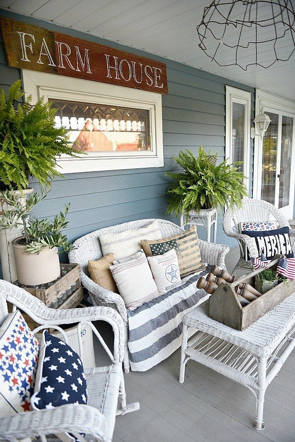 Farmhouse Fourth Of July Porch Front Porch Decorating Farmhouse Porch Farmhouse Patio
