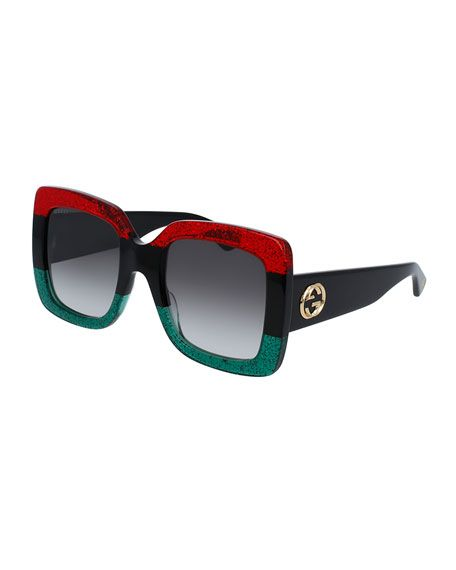 127d2dd48057 GUCCI GLITTERED GRADIENT OVERSIZED SQUARE SUNGLASSES, RED/BLACK/GREEN. # gucci #