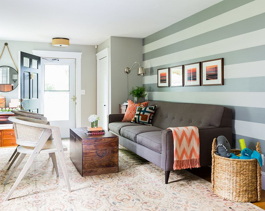 15 Fabulous Living Rooms With Striped Accent Walls Accent Walls In Living Room Living Room Accents Grey Accent Wall Living Room