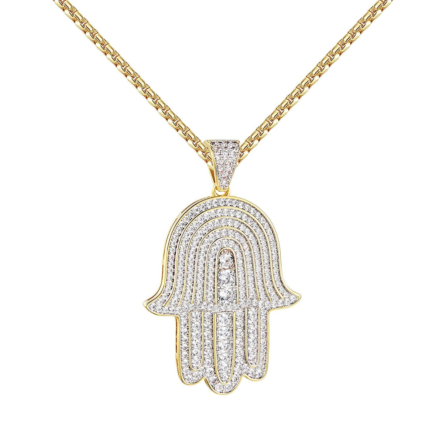 Solitaire hamsa hand pendant 14k gold over sterling silver 24 solitaire hamsa hand pendant 14k gold over sterling silver 24 chain iced out aloadofball Images