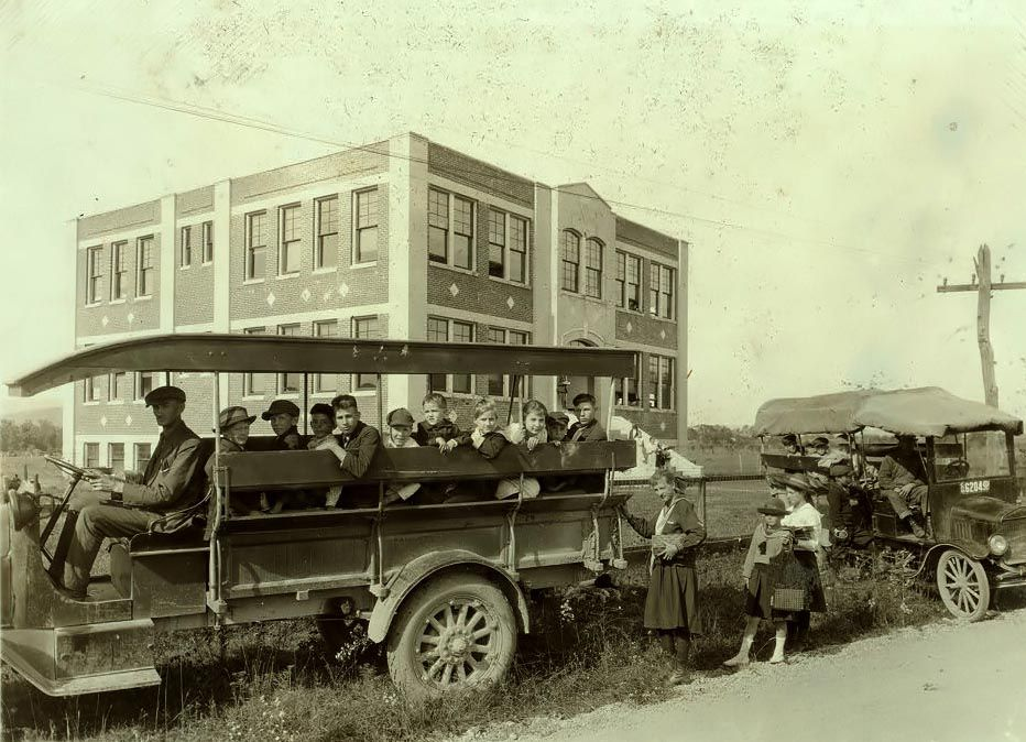 School bus in 1921 in West Virginia.