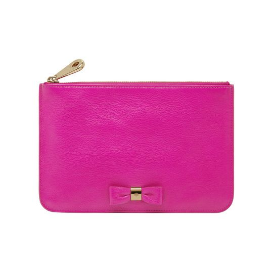 Fuchsia Pink Bow #Pouch by Mulberry
