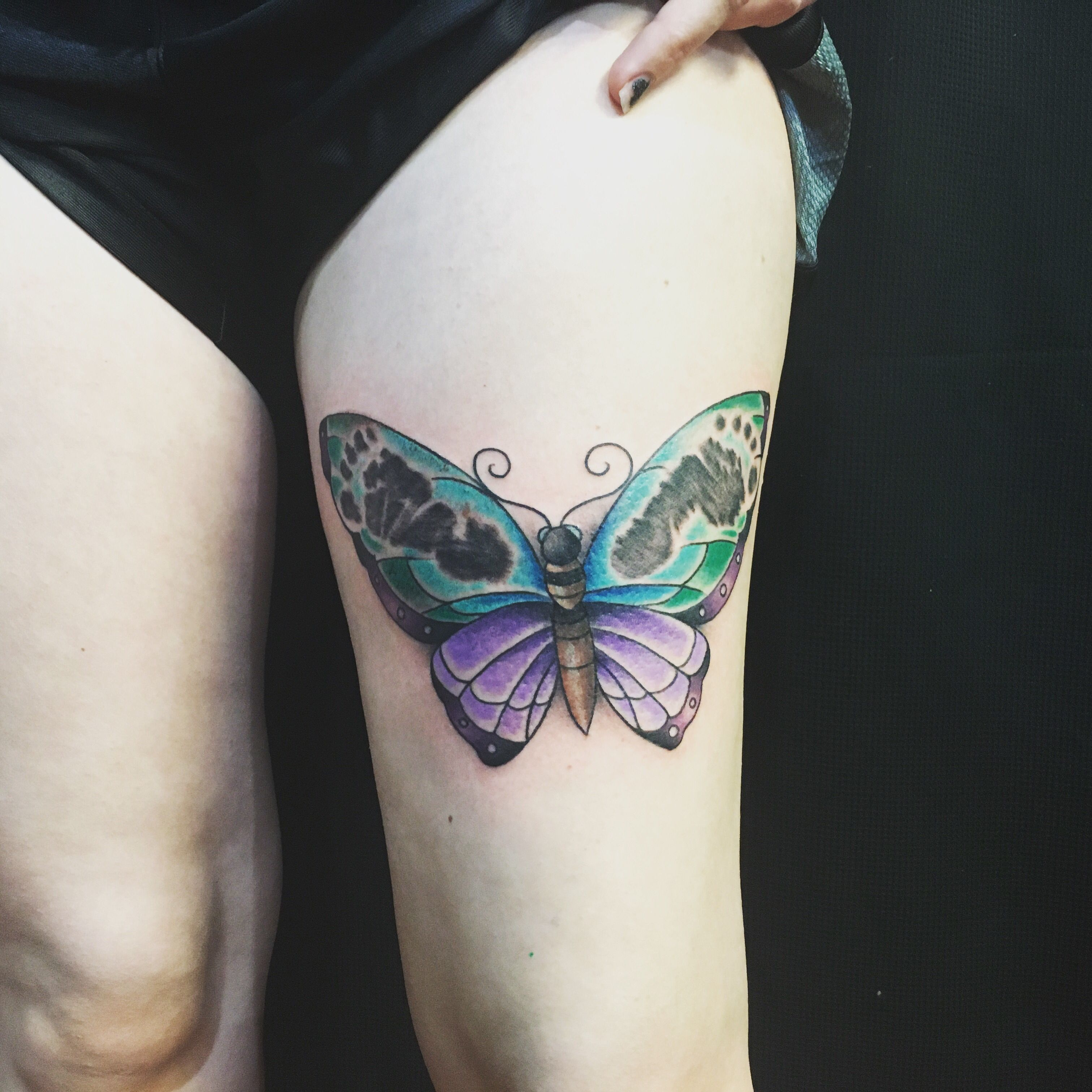 Baby Girl Footprints Butterfly Thigh Color Tattoo Artist