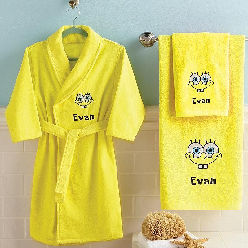 SpongeBob Hand Towel Bath Towel Robe Hand Towels Robe And Towels - Personalized bath towels for small bathroom ideas