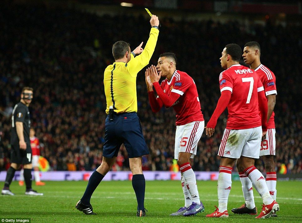 Jesse Lingard (centre) Receives A Yellow Card After He Was