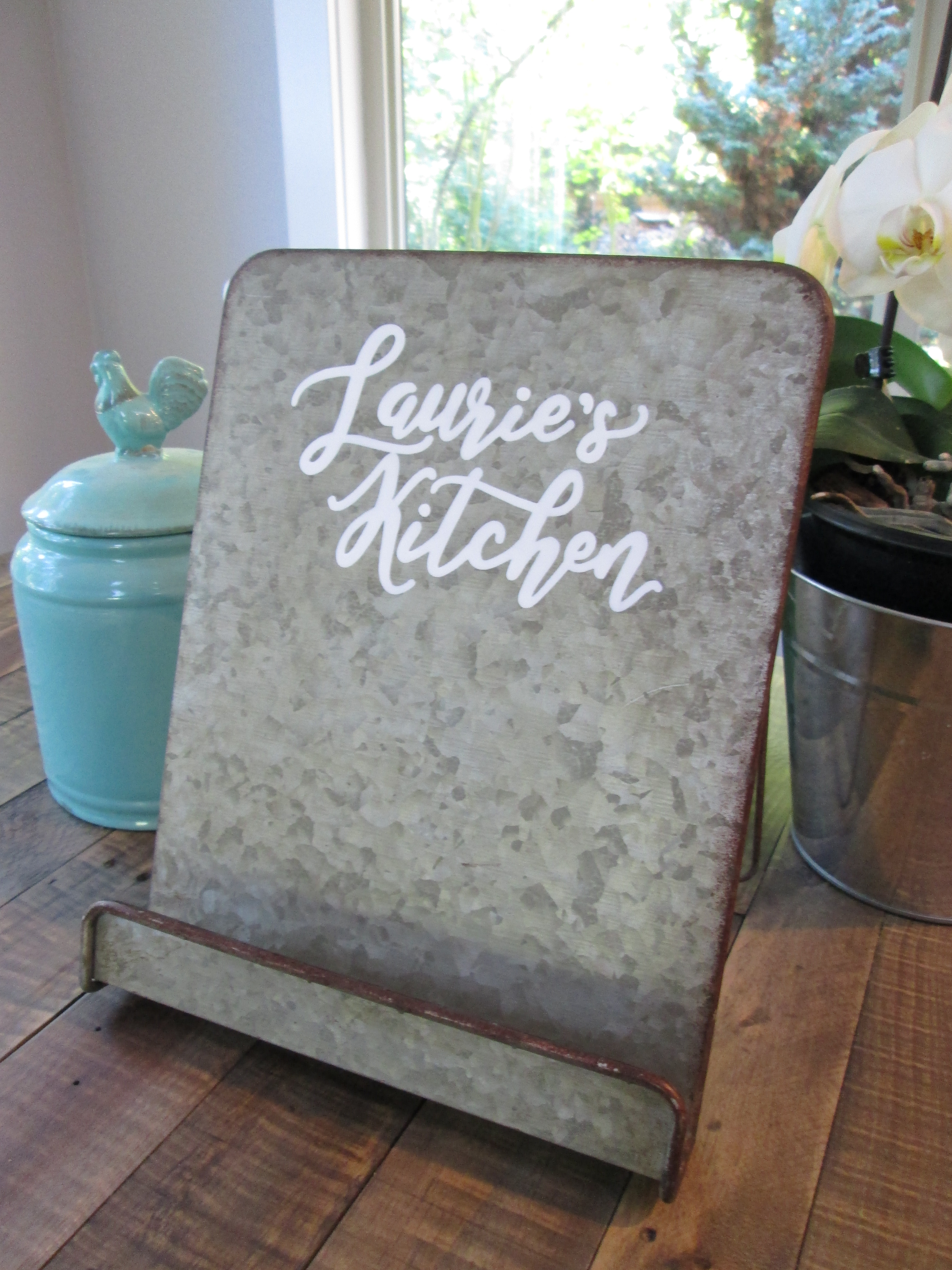 Personalized Metal Tablet Stand Or Cookbook Holder Farmhouse Kitchen Decor In 2020 Tablet Stand Cookbook Stand Metal Cook Book Stand