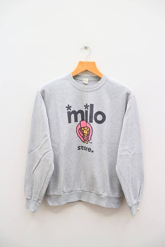 42943e3ad Vintage BABY MILO Store Bathing Ape Bape Gray Pullover Sweatshirt Sweater  Size M