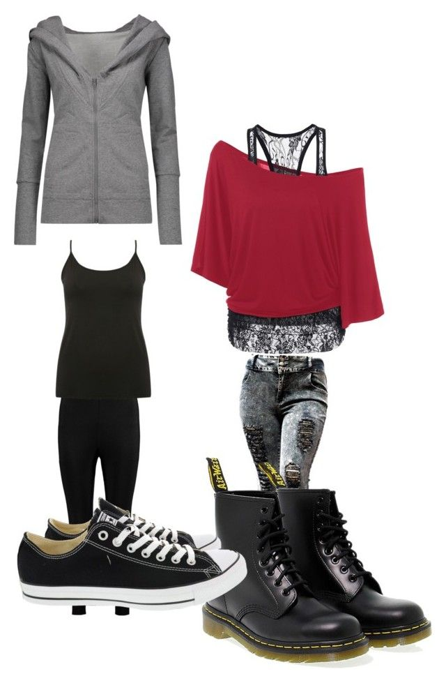 """""""Untitled #9191"""" by lover5sos ❤ liked on Polyvore featuring Dr. Martens, Boohoo, M&Co, Norma Kamali and Converse"""