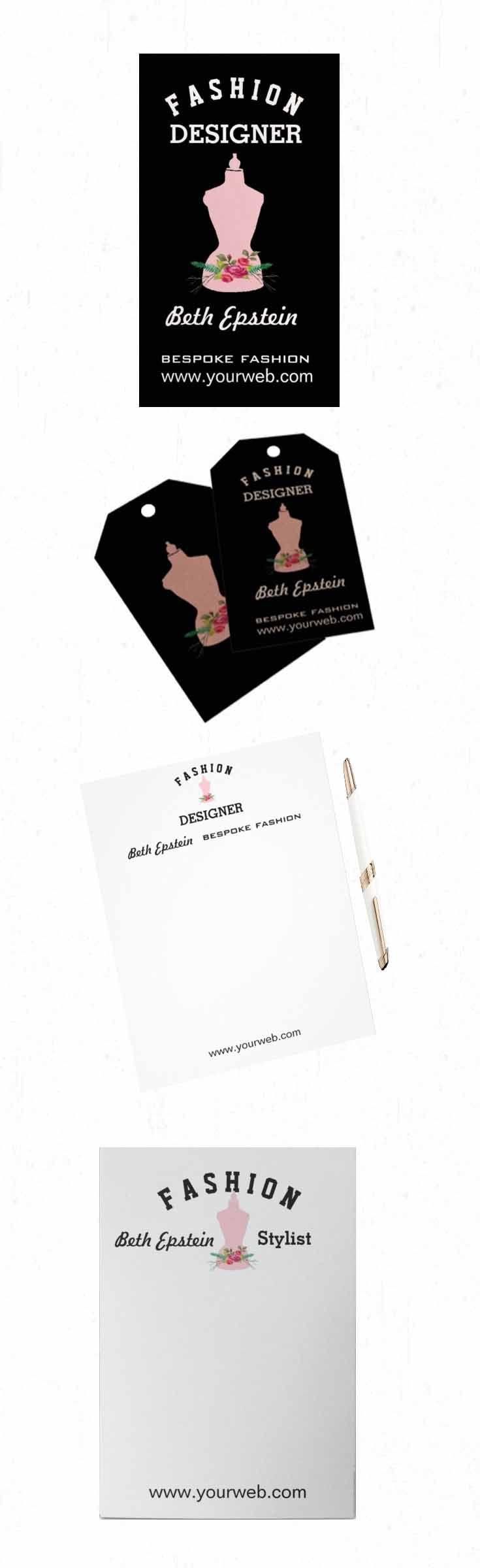 New blog post at jeanettegetrost illustrating handmade fashion pink vintage retro mannequin design illustration on business cards letterheads note pads and magicingreecefo Images
