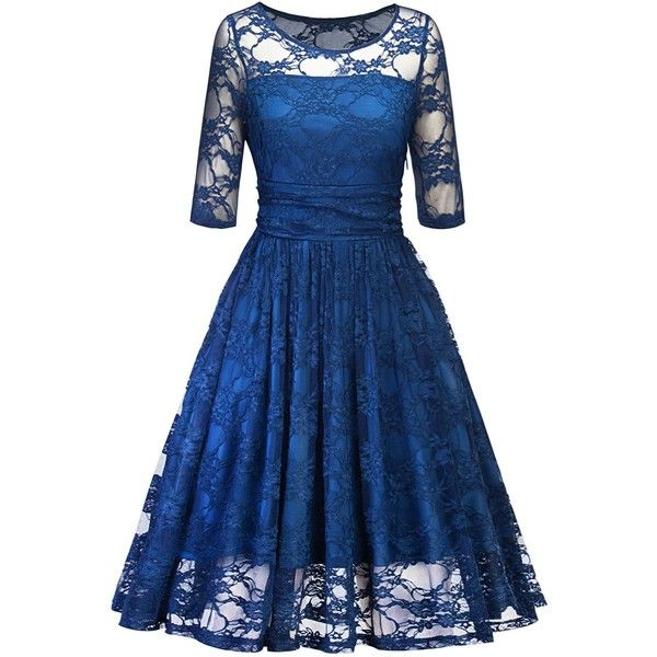 Blue XL Vintage Lace Party Fit and Flare Dress ($20) ❤ liked on ...