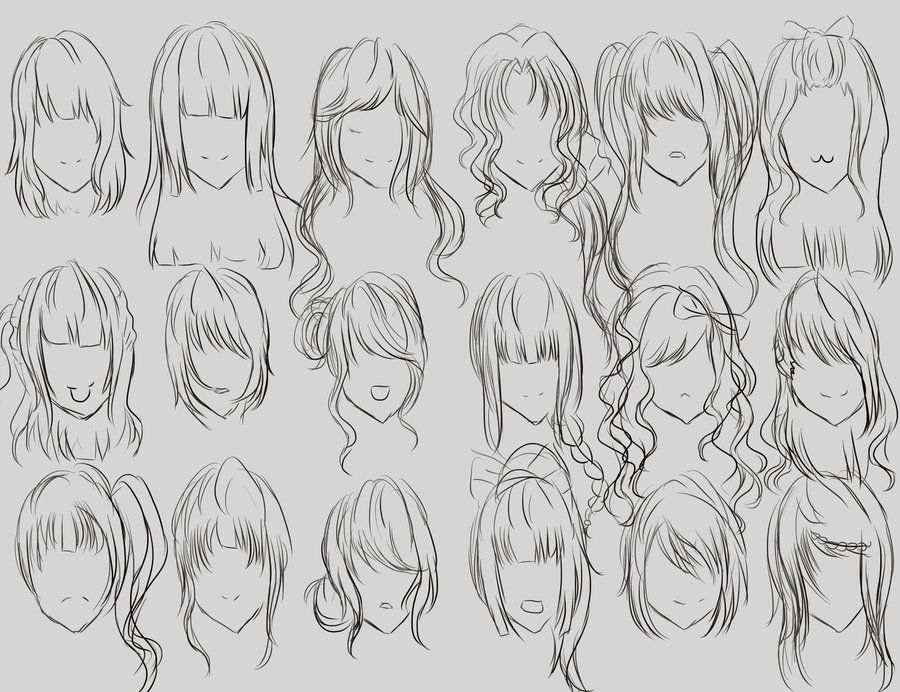 Female Hair Reference By Lumaeya On Deviantart Hair Reference Hair Sketch How To Draw Hair