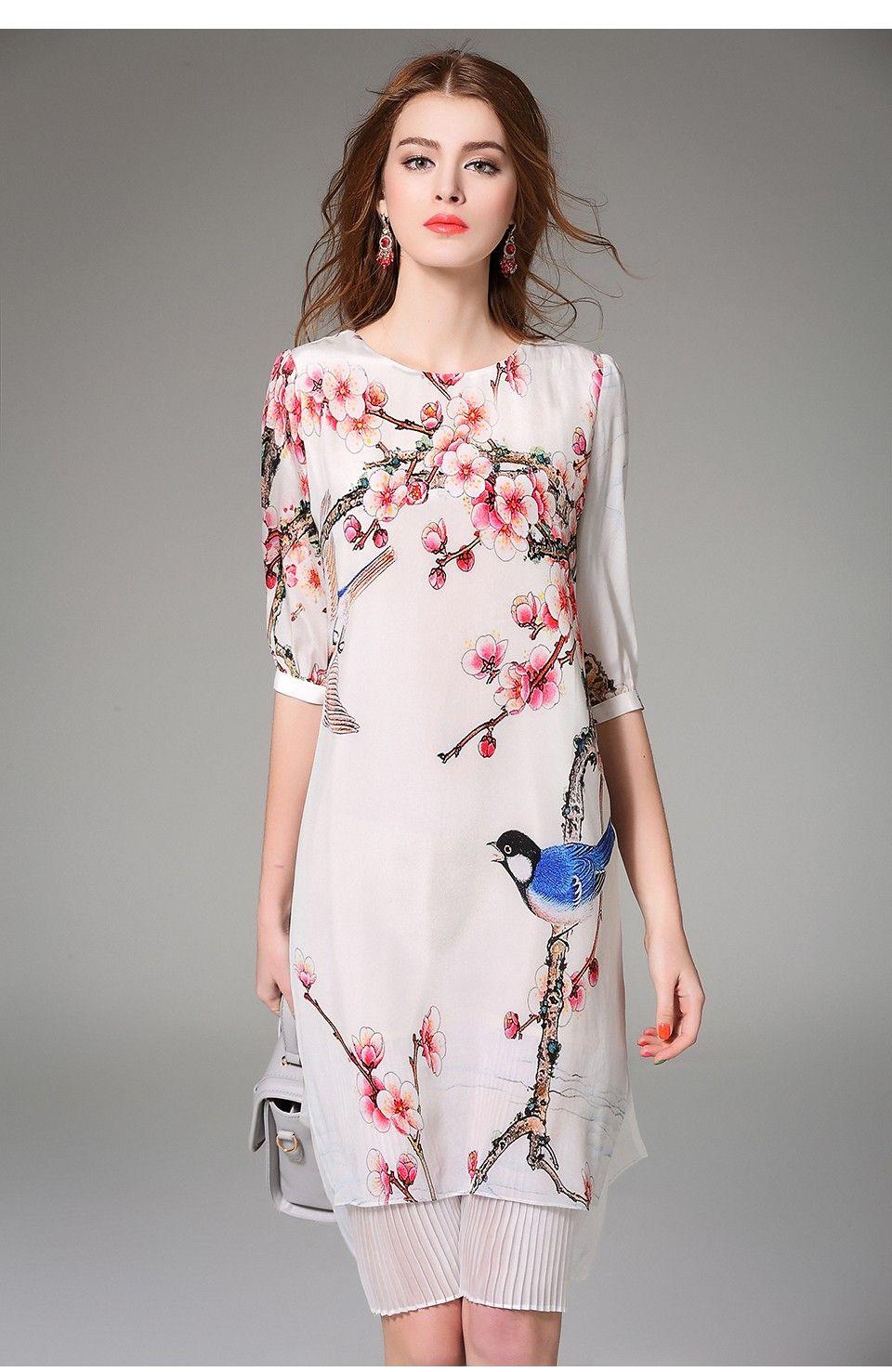 Nexiia 2016 printemps été femmes Vintage Style chinois Pure soie robe  imprimée faux deux pièces moitié manches plissée jupe
