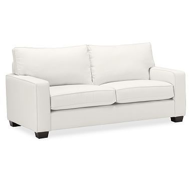 PB Comfort Square Arm Upholstered Sofa, Box Edge Down Blend Wrapped Cushions, Organic Cotton Twill Ivory