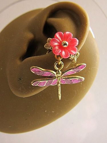 Simple Pink Dragonfly Ear Cuff Nature Gold Flower by aldesigns, $25.00