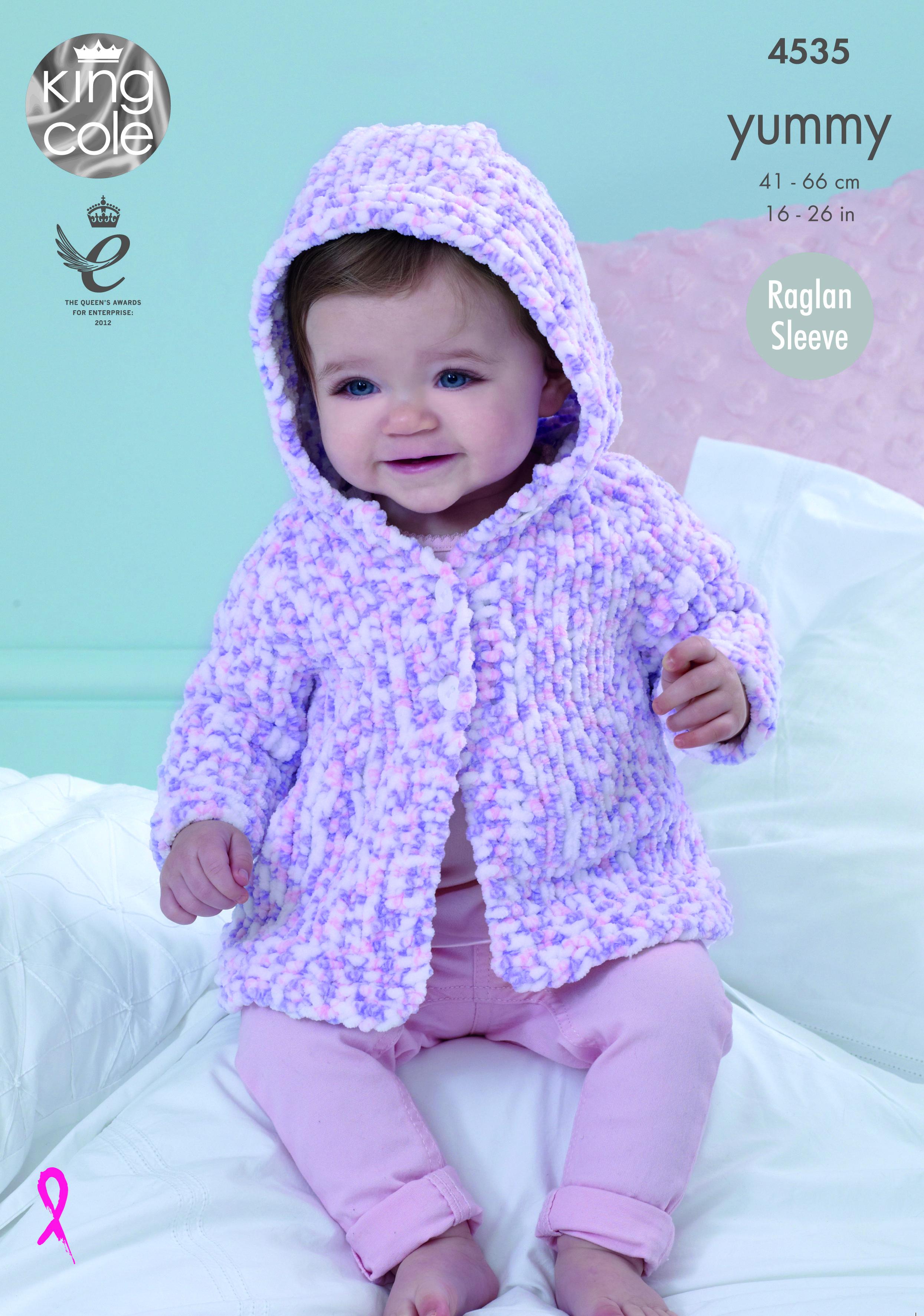 King Cole Baby Knitting Pattern Raglan Sleeve Hooded Jacket Cardigan Yummy 4535